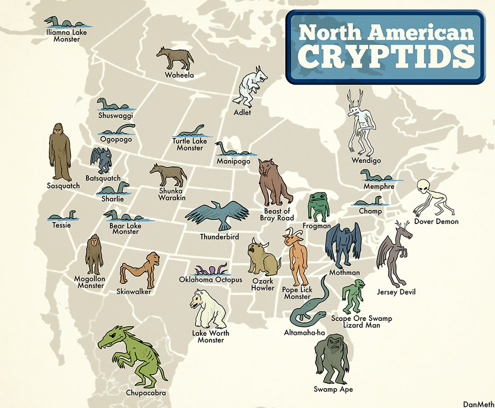 So here's a handy guide in case you decide to go looking for a cryptid near you: